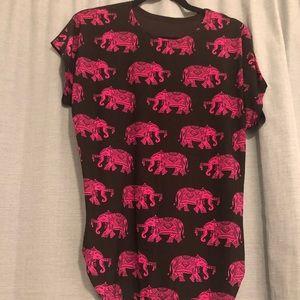 Pink Elephants, black stretchy shirt